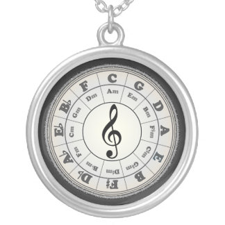 Opal Circle of Fifths Silver Plated Necklace
