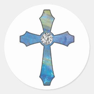 Opal & Diamond Jewel Cross Stickers