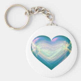 Opal satin heart keychain