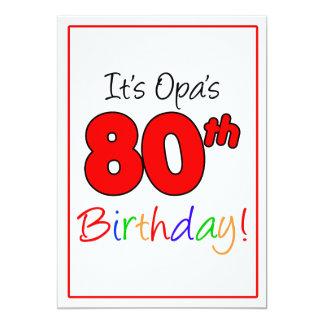 Opa's 80th Milestone Birthday Party Celebration Card