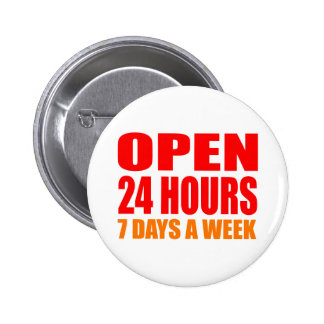 Open 24 Hours 2 Inch Round Button