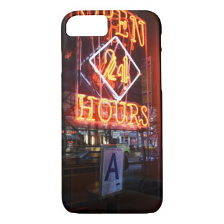 Open 24 Hours Neon Diner Sign New York City NYC iPhone 8/7 Case