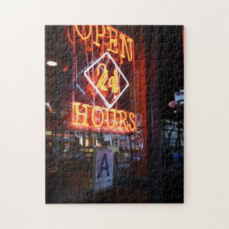 Open 24 Hours Neon Diner Sign New York City NYC Jigsaw Puzzle