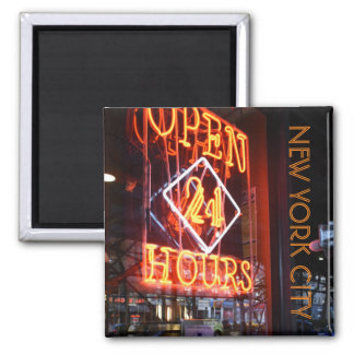 Open 24 Hours Neon Diner Sign New York City NYC Magnet