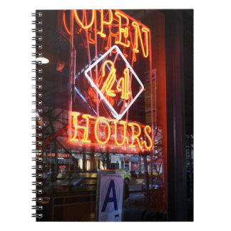 Open 24 Hours Neon Diner Sign NYC Photography Notebook