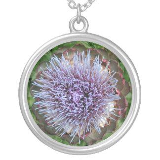 Open Artichoke Flower. Purple. Silver Plated Necklace