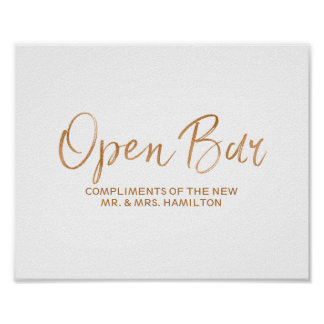 Open Bar 8x10 Stylish Rose Gold Wedding Sign