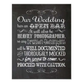 Open Bar Humourous Wedding Decor Print