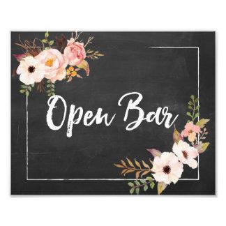 Open Bar Rustic Chalkboard Floral Wedding Sign Art Photo