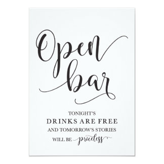 Open Bar Wedding Alcohol Sign Card