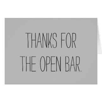 Open Bar Wedding Card