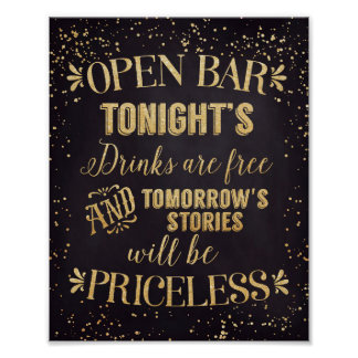 Open Bar Wedding Poster Black/Gold