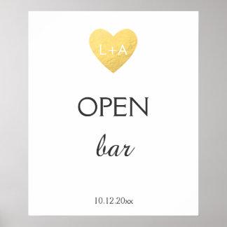 Open Bar Wedding sign, faux gold heart Poster
