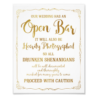 Open bar wedding sign gold glitter, wedding poster