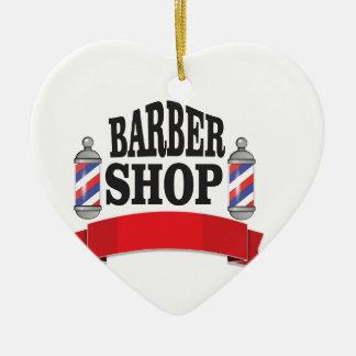 open barber shop art ceramic heart ornament