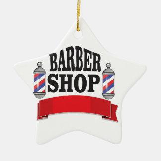 open barber shop art ceramic star ornament
