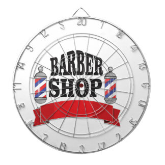 open barber shop art dartboard with darts