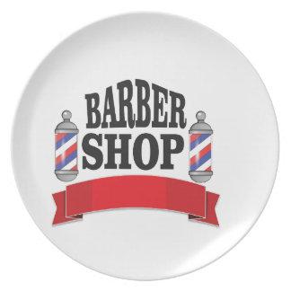 open barber shop art dinner plates