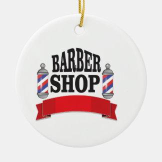 open barber shop art round ceramic ornament