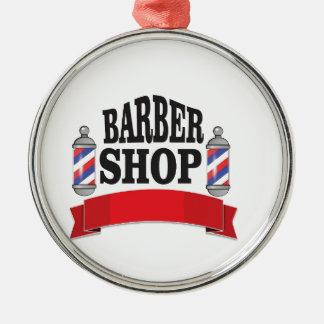 open barber shop art Silver-Colored round ornament