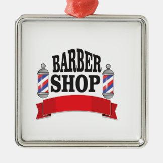 open barber shop art Silver-Colored square ornament