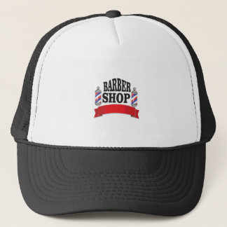open barber shop art trucker hat