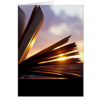 Open Book and Sunset Photography Card