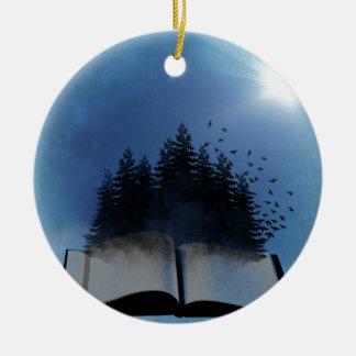 Open Book Forest Round Ceramic Ornament