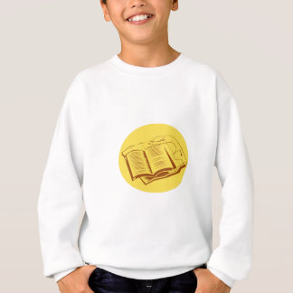 Open Book Trail Map Oval Woodcut Sweatshirt