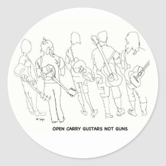 open carry guitars not guns classic round sticker