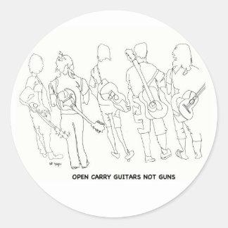 open carry guitars not guns round sticker