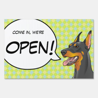 OPEN CLOSED business sign Doberman Dog