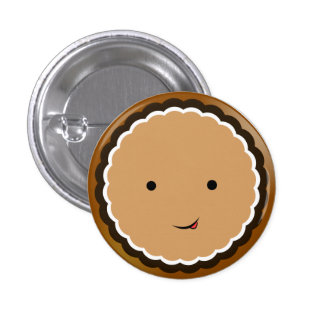 Open-faced Chocolate Cream Cookie 1 Inch Round Button