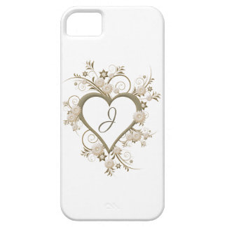 Open Heart surrounded with Flowers, Monogram iPhone 5 Cover