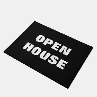 OPEN HOUSE doormat | black and white floor sign