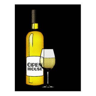 open house / housewarming : halftone wine postcard