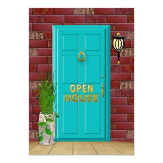 OPEN HOUSE - INVITATION -  Aqua Door - Brick Wall