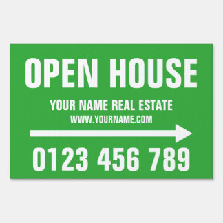 Open house real estate directional yard sign