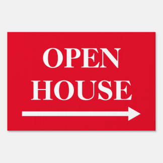 Open house real estate yard sign with arrow
