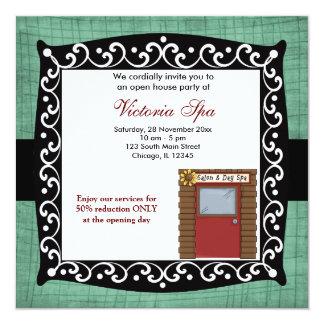"Open House Spa Business 5.25"" Square Invitation Card"