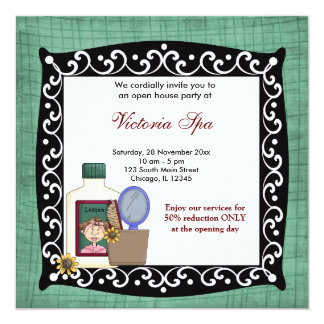 "Open House Spa Business 5.25"" Square Invitation Card"