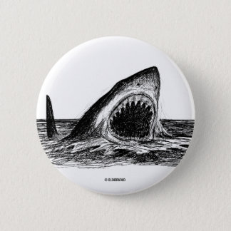 OPEN JAWS Great White Shark art Button