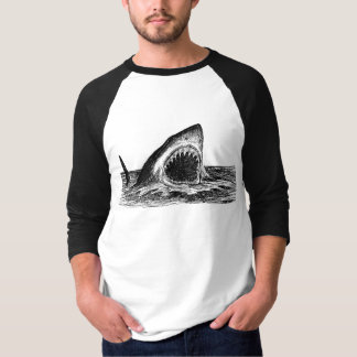 OPEN JAWS Great White Shark Men's Raglan T-Shirt