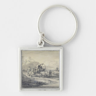 Open Landscape with Herdsman and Covered Cart, c.1 Key Chains