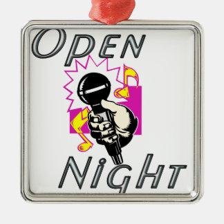 Open Mic Night Silver-Colored Square Ornament
