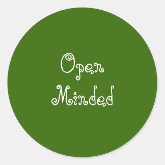 Open Minded. Green Swirly Text. Round Sticker