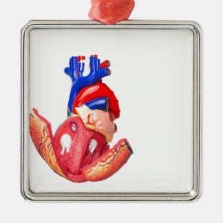 Open model human heart on white background Silver-Colored square ornament