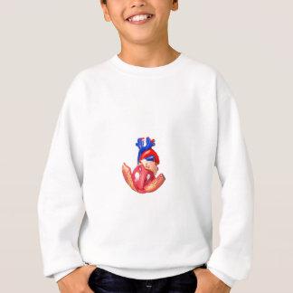 Open model human heart on white background sweatshirt