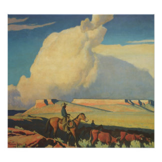 Open Range by Maynard Dixon, Vintage Cowboys Print