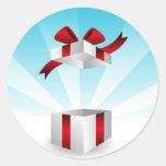 Open Red Bow Gift Box Birthday Background Round Sticker